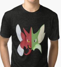 Syther #123 and Scizor #212 Tri-blend T-Shirt