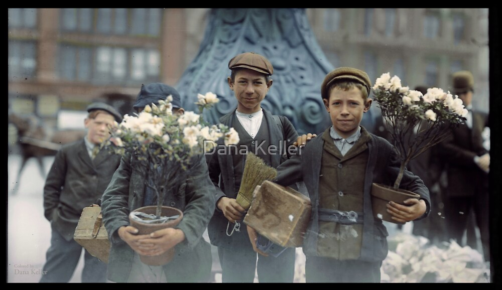 Boys with Flowers, New York. 1908. by Dana Keller