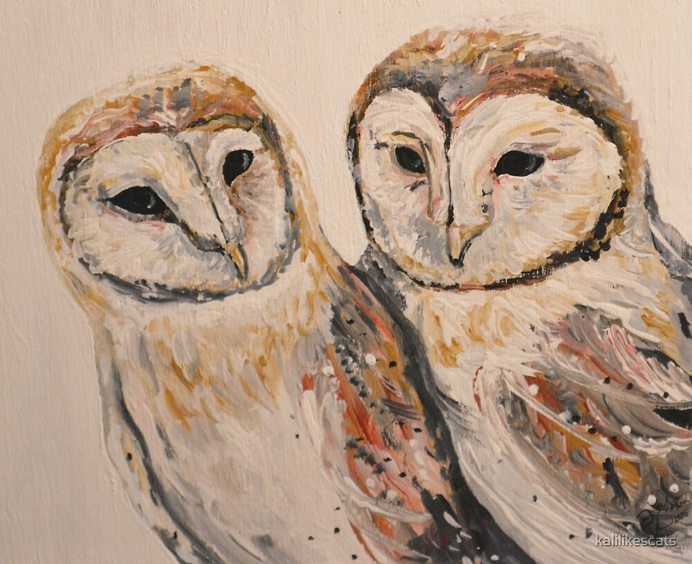 Painted Barn Owls on Wood by kalilikescats