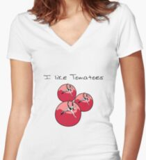 Vegetables tomatoes nature garden Women's Fitted V-Neck T-Shirt