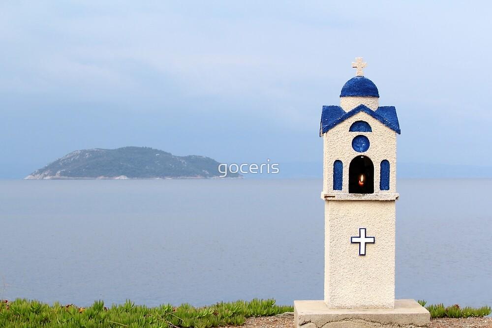 orthodox little church shrine Neos Marmaras Sithonia Greece by goceris