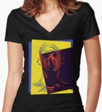 Pop Art Outline Man Women's Fitted V-Neck T-Shirt
