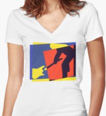 Rock Guitar Smash Women's Fitted V-Neck T-Shirt