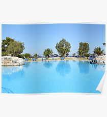 swimming pool summer vacation scene Poster