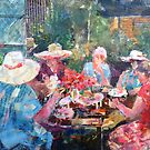 Tea In The Garden With Friends - Painting by Ballet Dance-Artist