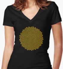 Sunflower Seed Fibonacci Spiral Golden Ratio Math Mathematics Geometry Women's Fitted V-Neck T-Shirt