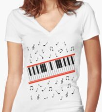 Beat It Piano Women's Fitted V-Neck T-Shirt