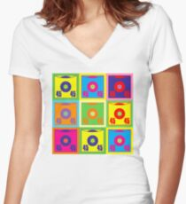 45 Record Pop Art Women's Fitted V-Neck T-Shirt