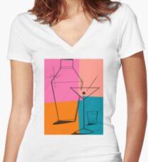 Pop Art Martini Women's Fitted V-Neck T-Shirt