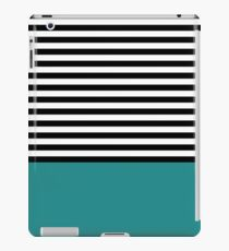 Dark Teal Black White Striped Pattern iPad Case/Skin