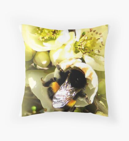 Hungry Bumble Bee Throw Pillow
