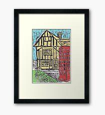English Tudor House Linocut Framed Print