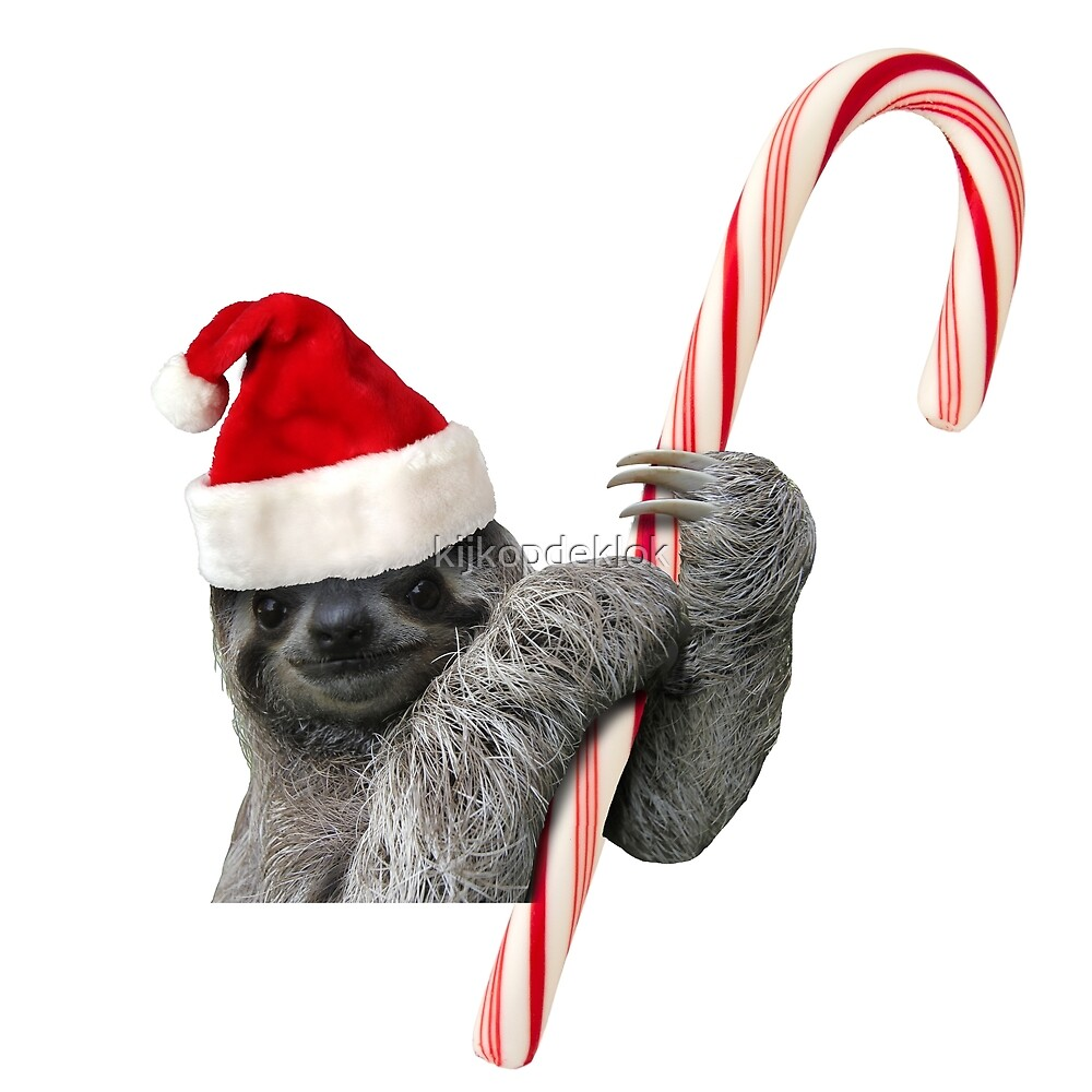Christmas Sloth with candy cane by kijkopdeklok