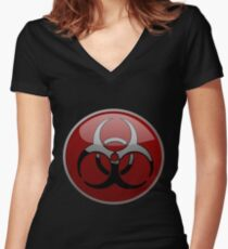 ZOMBIE APOCALYPSE HAZMAT by Zombie Ghetto Women's Fitted V-Neck T-Shirt