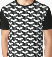Black and White Cube Pattern 3D Effect Graphic T-Shirt