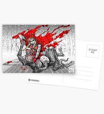 Red Knee-Ride Hood Postcards