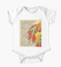 Colourful flaming feathers over old encyclopedia page Dictionary Art One Piece - Short Sleeve