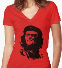 Che Corbyn - Jeremy Corbyn and Che Guevara political mash-up tshirt   Labour party leader Women's Fitted V-Neck T-Shirt