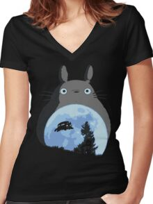 Totoro the Extra-Terrestrial Women's Fitted V-Neck T-Shirt