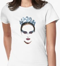Black Swan face Women's Fitted T-Shirt