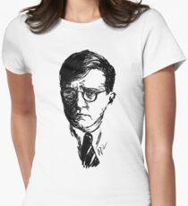 Shostakovich drawing in black Women's Fitted T-Shirt
