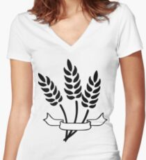 Wheat and Banner Women's Fitted V-Neck T-Shirt