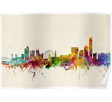 Manchester England Skyline Cityscape Poster