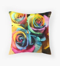 Colorful Bouquet of Rainbow Roses Throw Pillow