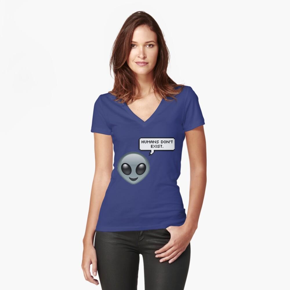 Alien Emoji - Humans Don't Exist speech bubble Women's Fitted V-Neck T-Shirt Front