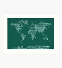 Score painting mixed media wall art redbubble map of the world map from old sheet music art print gumiabroncs Images
