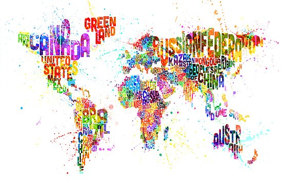 Paint Splashes Text Map of the World by Michael Tompsett