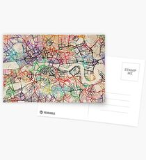 Watercolour Map of London Postcards