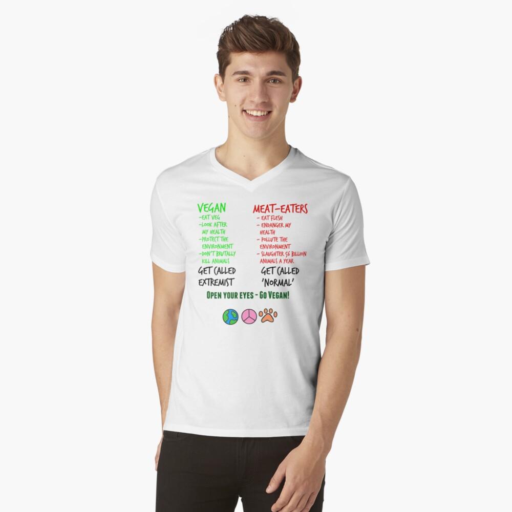 Open Your Eyes - Go Vegan! V-Neck T-Shirt