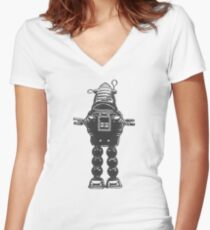 Robot, Science Fiction, Toy, Robots Women's Fitted V-Neck T-Shirt