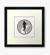 Female Marathon Runner Run Retro Framed Print