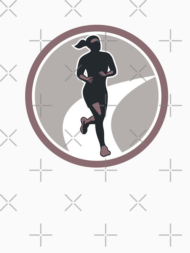 Female Marathon Runner Run Retro by patrimonio