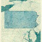 Pennsylvania Map Blue Vintage by HubertRoguski