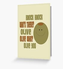 Olive You Knock Knock Joke Card Greeting Card
