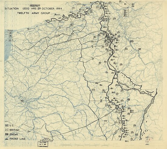 October 29 1944 World War II HQ Twelfth Army Group situation map by allhistory