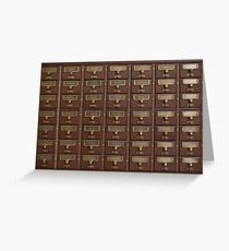 Vintage Library Card Catalog Drawers Greeting Card