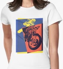 Pop Art Skeleton Motorcycle Womens Fitted T-Shirt