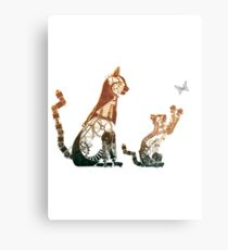 Steampunk bronze cat and kitten Metal Print