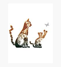 Steampunk bronze cat and kitten Photographic Print