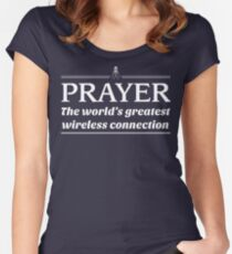 Prayer: The World's Greatest Wireless Connection Women's Fitted Scoop T-Shirt