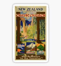 Vintage Christchurch New Zealand Travel Sticker