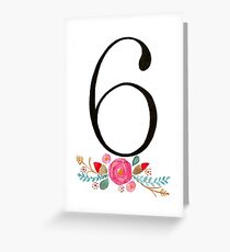 Number 6  - Ink & Watercolour Flowers Greeting Card