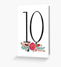 Number 10  - Ink & Watercolour Flowers Greeting Card