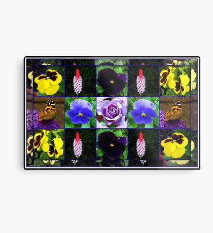 Summer Flowers and Butterfly Collage Metallbild