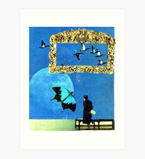 baby discovers surrealism Art Print