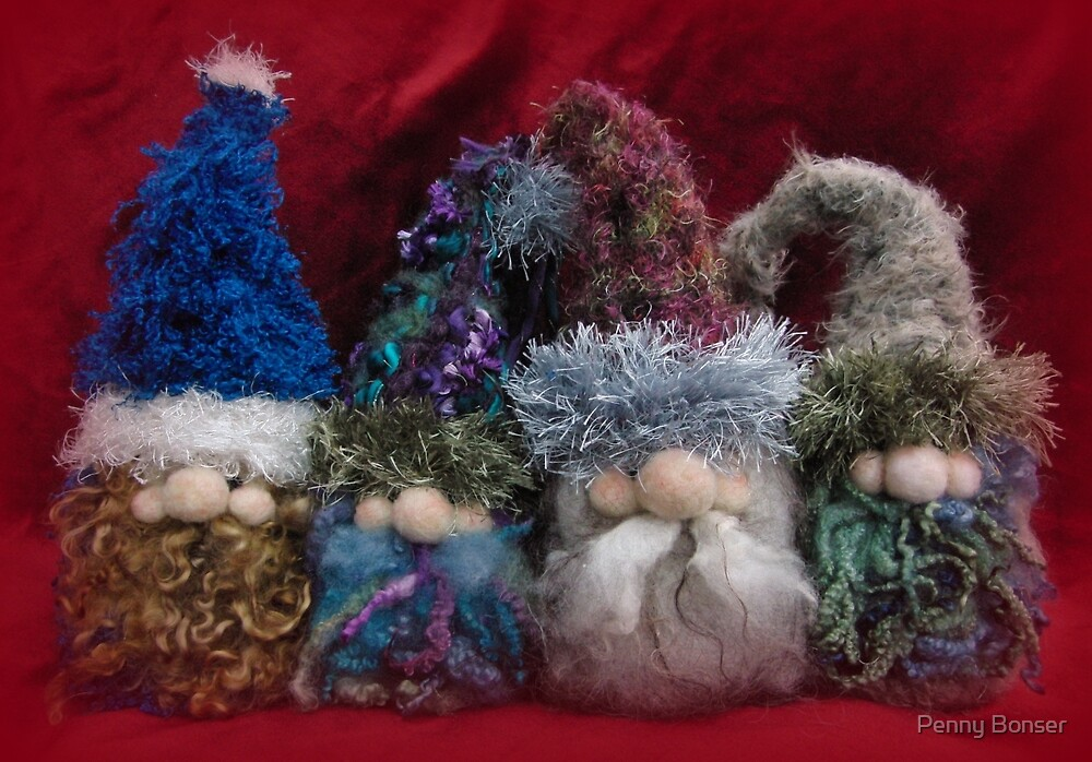 Handmade needle felted creation from Teddy Bear Orphans - Gnome Quartet by Penny Bonser
